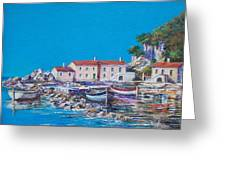 Blue Bay Greeting Card by Sinisa Saratlic
