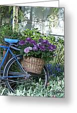 Blue Bike Greeting Card by Cheri Randolph