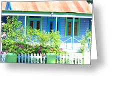 Blue Chattel House Greeting Card by Barbara Marcus