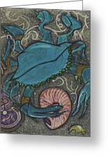Blue Crab Greeting Card by Stu Hanson