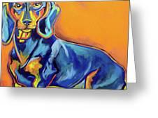 Blue Dachshund Greeting Card by Ilene Richard