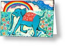 Blue Elephant And Rainbow Greeting Card by Sushila Burgess