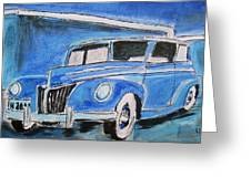 Blue Ford Convertible Greeting Card by Michael Litvack
