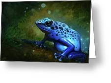 Blue Frog Greeting Card by Caroline Jamhour