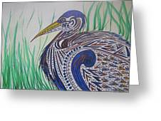 Blue Heron For Lana Greeting Card by Dawn Van Ness