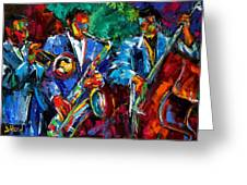 Blue Jazz Greeting Card by Debra Hurd
