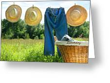 Blue Jeans And Straw Hats On Clothesline Greeting Card by Sandra Cunningham