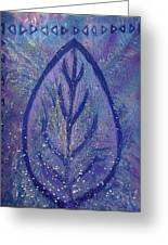 Blue Leaf Rising Greeting Card by Anne-Elizabeth Whiteway