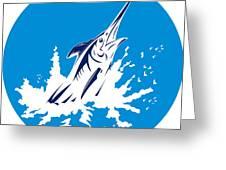 Blue Marlin Circle Greeting Card by Aloysius Patrimonio