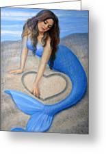Blue Mermaid's Heart Greeting Card by Sue Halstenberg