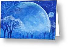 Blue Night Moon Greeting Card by Ashleigh Dyan Bayer