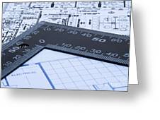 Blue prints and ruler Greeting Card by Blink Images