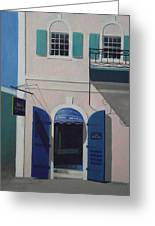 Blue Shutters In Charlotte Amalie Greeting Card by Robert Rohrich