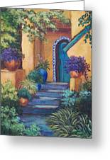 Blue Tile Steps Greeting Card by Candy Mayer