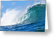 Blue Tube Wave Greeting Card by Paul Topp