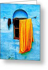 Blue Wall With Orange Sari Greeting Card by Derek Selander