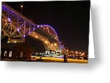 Blue Water Bridge At Night Greeting Card by Paul Bartoszek