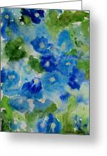 Blue Wet On Wet Greeting Card by Jamie Frier