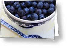 Blueberries With Spoon Greeting Card by Carol Groenen