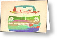 BMW 2002 Front Watercolor 3 Greeting Card by Naxart Studio