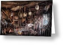 Boat - Block And Tackle Shop  Greeting Card by Mike Savad