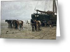 Boat On The Beach At Scheveningen Greeting Card by Anton Mauve