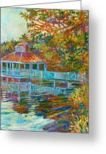 Boathouse At Mountain Lake Greeting Card by Kendall Kessler
