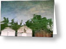 Boathouses With Sky And Trees Greeting Card by Michelle Calkins
