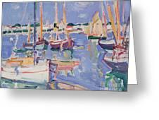 Boats At Royan Greeting Card by Samuel John Peploe