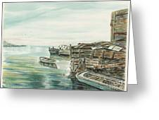 Boats At The Dock Greeting Card by Samuel Showman