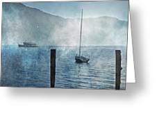 boats in the fog Greeting Card by Joana Kruse