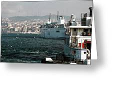 Boats On The Bosphorus Greeting Card by John Rizzuto