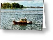 Boats - Police Boat Norfolk Va Greeting Card by Susan Savad