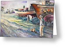 Boats Yard In Villajoyosa Spain Greeting Card by Miki De Goodaboom