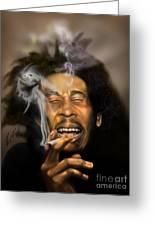 Bob Marley-burning Lights 3 Greeting Card by Reggie Duffie