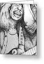 Bob Marley In Ink Greeting Card by Joshua Morton