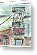Bob's Cafe Greeting Card by Matt Gaudian