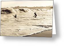 Body Surfing Family Greeting Card by Marilyn Hunt