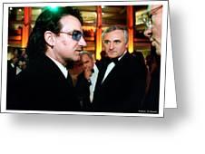 Bono Greeting Card by Rebecca DAngelo