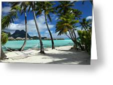 Bora Bora Beach Hammock Greeting Card by Owen Ashurst