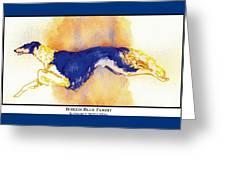 Borzoi Blue Flight Greeting Card by Kathleen Sepulveda