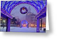 Boston Blue Christmas Greeting Card by Susan Cole Kelly