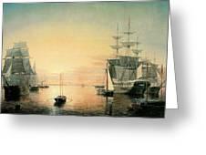 Boston Harbor Greeting Card by Fitz Hugh Lane