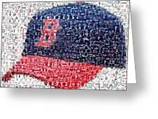 Boston Red Sox Cap Mosaic Greeting Card by Paul Van Scott
