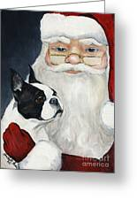 Boston Terrier With Santa Greeting Card by Charlotte Yealey