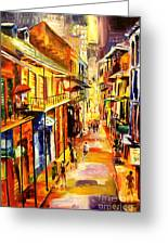 Bourbon Street Glitter Greeting Card by Diane Millsap