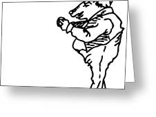 Bourgeoisie Pig Greeting Card by Karl Addison