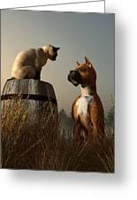 Boxer And Siamese Greeting Card by Daniel Eskridge