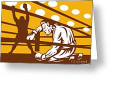 Boxer Down On His Hunches Greeting Card by Aloysius Patrimonio