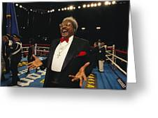 Boxing Promoter Don King In The Boxing Greeting Card by Maria Stenzel